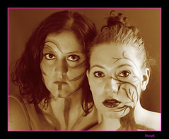 Pair of Queens (n0vk) Tags: lighting ladies girls light portrait people woman funnyface girl smile sepia lady happy lights rachel model paint photographer faces natural sweet sassy painted lips queen queens protrait