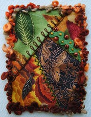 Automne (fatquarter (Annet)) Tags: autumn atc fairy cq handpieced frenchknots foundationpieced basquestitch tiedherringbonestitch