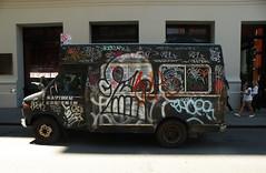 Crushed (Waves of Perception) Tags: new york city nyc bus graffiti tag mini tags vandalism crush crushed adek katsu backfat tko irak ques vescr quesone