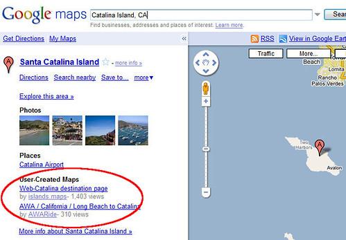 Un mapa personalizado para la isla Catalina en Google Maps