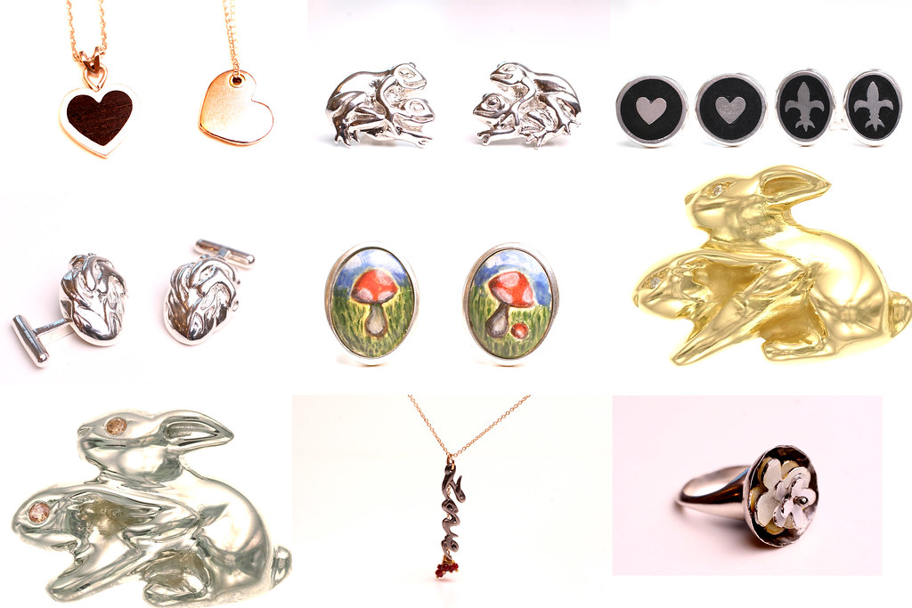 assorted cufflinks and pendants