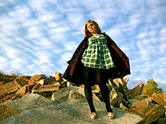 Trench Coat (Kara Allyson) Tags: sky girl clouds flying rocks megan trenchcoat teen batman