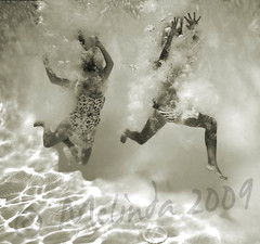 (lindilindi) Tags: blackandwhite bw woman water pool girl sepia female ga fun jump jumping underwater dive floating bubbles bikini swimsuit hawaiimelindapodorlindilindicopyrightdonotusewithoutpermission gettyinvited