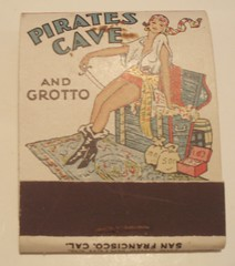 PIRATES CAVE OAKLAND CALIF. (ussiwojima) Tags: california bar advertising restaurant oakland lounge cocktail girlie matchbook piratescave matchcover
