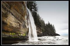 Mystic Beach (Island-Em) Tags: canada beach canon landscape waterfall sandstone britishcolumbia shoreline vancouverisland coastal juandefucatrail mysticbeach