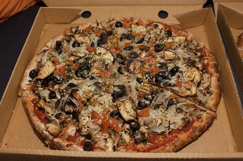 eggplant pizza from Mr Natural Vegetarian Pizza