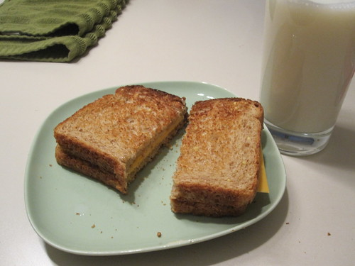 Cheese sandwich and milk at home