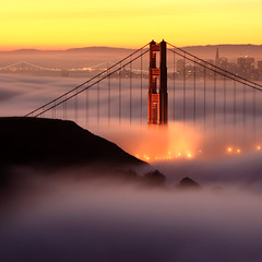 Sunday Morning #2:  5:56am (Rob Kroenert) Tags: sanfrancisco california morning bridge usa tower fog skyline sunrise dawn lights golden bay gate san francisco long exposure downtown pyramid marin goldengatebridge baybridge headlands transamerica coit marinheadlands
