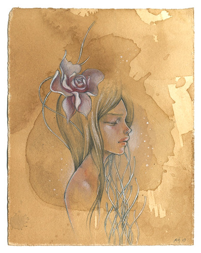 "Chie. 6""x8"". Mixed Media (Graphite, Watercolor & Acrylic) on Tea-stained Paper. ©2009."
