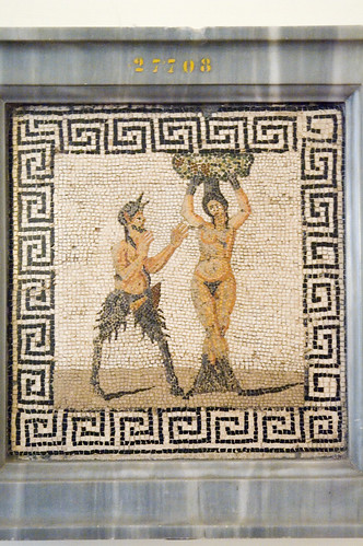 Pompeian mosaic with Pan and Amadriate