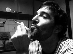 114/365: Andreas (joyjwaller) Tags: boy portrait blackandwhite face japan beard tokyo cigarette vice pirate kitchenparty project365 thespanish