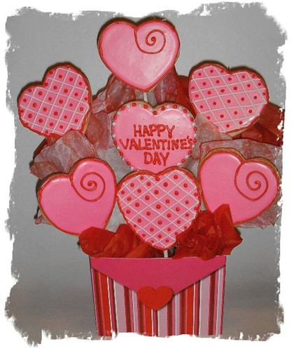 Valentine's Day cookie bouquet. sugar valentines cookies hand decorated.