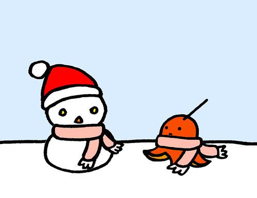 たこウィンと雪だるま