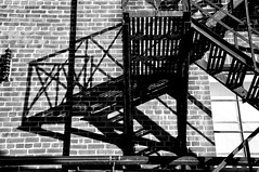 Stepped Plate 3 (Joanne Dale) Tags: blackandwhite toronto stairs iron distillerydistrict shadows steps fireescape nikond90 joannedale nikond90bw