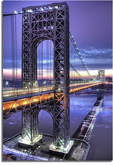 George Washington Bridge (kw~ny) Tags: newyork reflection river newjersey nikon calm hudsonriver hdr gwb fortlee georgewashingtonbridge washingtonheights