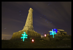 The Holly and the Orbs (Light Painted Cornwall) Tags: light lightpainting monument pool tristan night clouds painting graffiti star long exposure paint cornwall cross wand painted trails led orion sword granite brea redruth barratt lightpaint camborne carn lightpainted