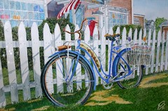 Treasures of the Past (jthomasart67) Tags: old blue art watercolor painting landscape rust antique rusted watercolour rusting vintagebike oldbike vintagebicycle antiquebicycle antiquebike visiblytalented oldrustybicycle