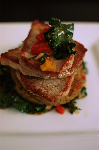 pork medallions over quinoa cakes
