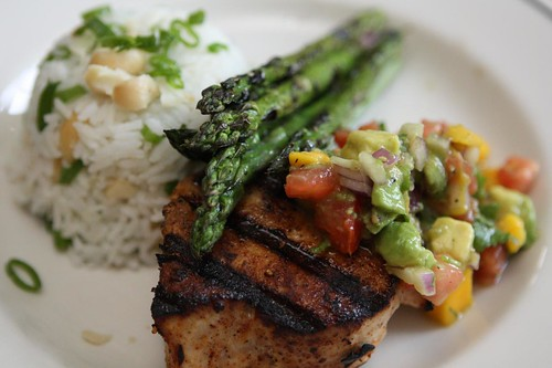 Grilled Opah with Macadamia Scallion Rice, Grilled Asparagus, and Mango Avocado Salsa
