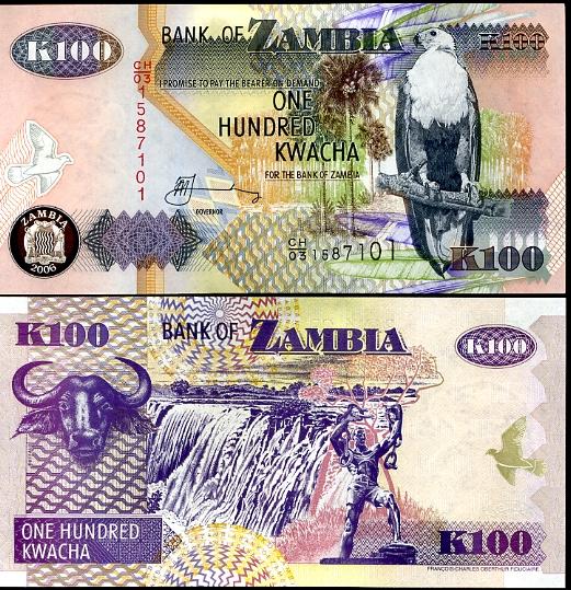 100 Kwacha Zambia 2006, Pick 38f