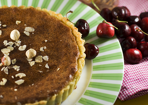 Cherry and Homemade Nutella Bakewell Hazelnut Tart -- Daring Bakers