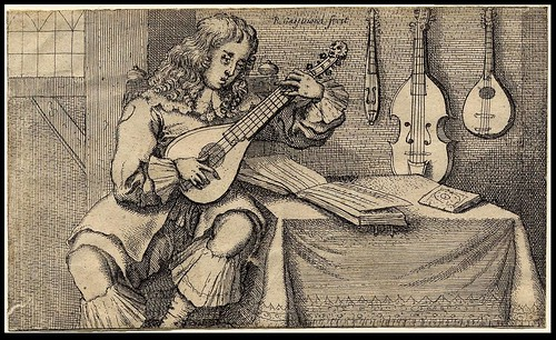 Man seated by a table playing a cithern 1666