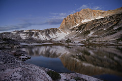 North Peak (Mike Hornblade) Tags: california summer lake mountains reflection clouds sunrise landscape sierranevada northpeak d700