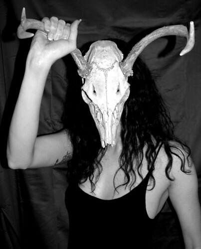 BONELUST - Self Portrait with White-tailed Deer Skull 3 - Ver2 B&W