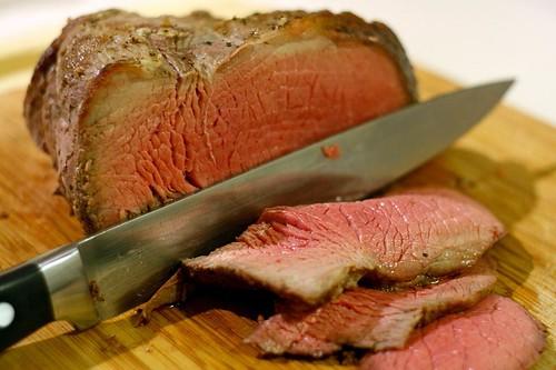 Medium-rare roast beef