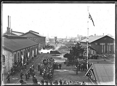 Flag at Honeysuckle Work Sheds, Newcastle, NSW, 17 June 1911 (Cultural Collections, University of Newcastle) Tags: newcastle rail australia flags nsw honeysuckle 1911 ralphsnowball snowballcollection ralphsnowballcollection worksheds enginsheds asgn0683b29 newcastleregionnswhistorypictorialworks photographynewsouthwalesnewcastle railroadsnewsouthwalestrains