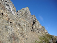 yucky scree traverse to the gully of yuck