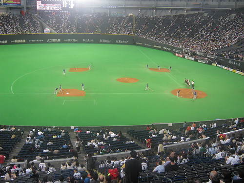 The best shot of the field Ive got. Lighting in the Sapporo Dome is such that its difficult to get a good picture that isnt ruined by the super strong lights.