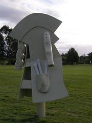 2007-12-23-Stoneleigh-2007-19-06-Feral Overcoat (russellstreet) Tags: newzealand sculpture auckland nzl manukau aucklandbotanicalgardens sculpturesinthegarden2007 stoneleighsculpturesinthegarden2007 feralovercoat warrenviscoe