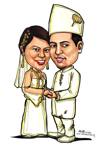 Malay traditional wedding couple caricatures - B - A4