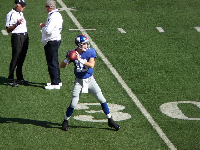 Eli Manning testing that sore heel