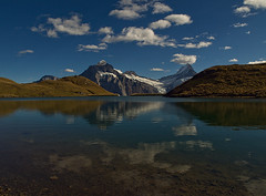 The Majestic Reflection (Chinmay Oza) Tags: lake snow mountains alps reflection water beautiful weather clouds landscape photography switzerland october suisse hiking swiss first hike cablecar gondola bern grindelwald soe wandern canton landschap wanderweg berneroberland schreckhorn wetterhorn suissa bachalpsee kanton suisa bachsee platinumphoto hurni theunforgettablepictures chinmayoza