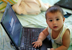Lia typing on the laptop