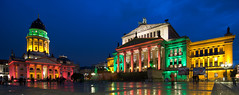 Festival of Lights, Berlin, Germany (Xindaan) Tags: city longexposure blue light red people orange berlin green wet rain yellow architecture night germany geotagged deutschland licht nacht unterdenlinden tokina bluehour allemagne mitte 2009 festivaloflights manfrotto langzeitbelichtung berlinmitte gendarmenmarkt uwa blauestunde deutscherdom ultrawideangle konzerthaus 1116 germancathedral 460mg 055mf4 1116mm tokina1116mmf28 atx116prodx 1116mmf28 281116 geo:lat=5251364925 geo:lon=1339275802