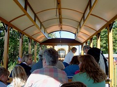 A ride on an open bench trolley car. The East Troy Electric Railroad and Museum. East troy Wisconsin. September 2006.