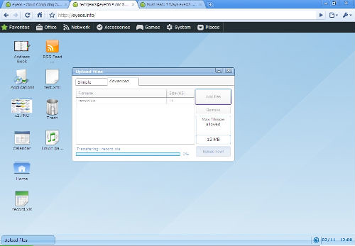 Interface to upload files from desktop to web based eyeOS desktop