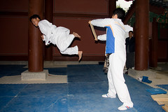 Chris Sy does a great jump back kick
