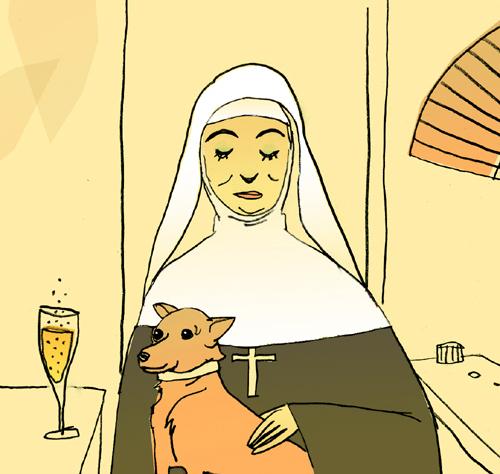 Nadia cest la Marie-Thérèse du quartier sexclaffe Christophe. Illustration Célia Rivière.