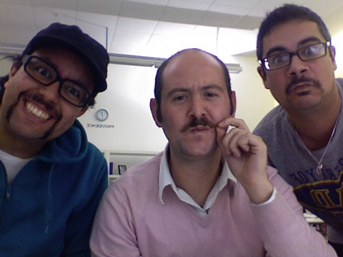 Ricardo, Dan and Meir from the MOO Crew participating in Movember - it's MOO-stache time!