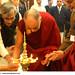 His Holiness the XIV Dalai Lama lighting the lamp