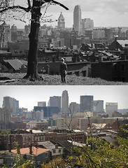 nr154 View from Liberty Hill, 1939 and 2009 (mgsmith) Tags: boy ohio bw tree vintage geotagged blackwhite cincinnati highlandave 2009 1939 prospecthill libertystreet libertyhill nelsonronsheim georgehuntpendletonhouse dandridgest
