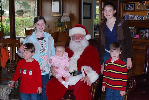 Brooks, Lindsey, Anna Kate, Santa, Leanne and Ben