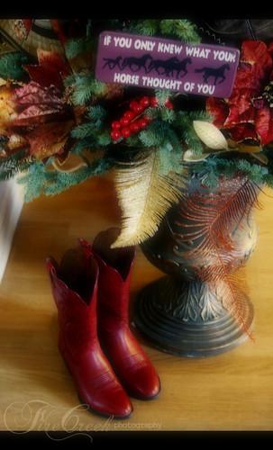 Santa wears Red Cowboy Boots