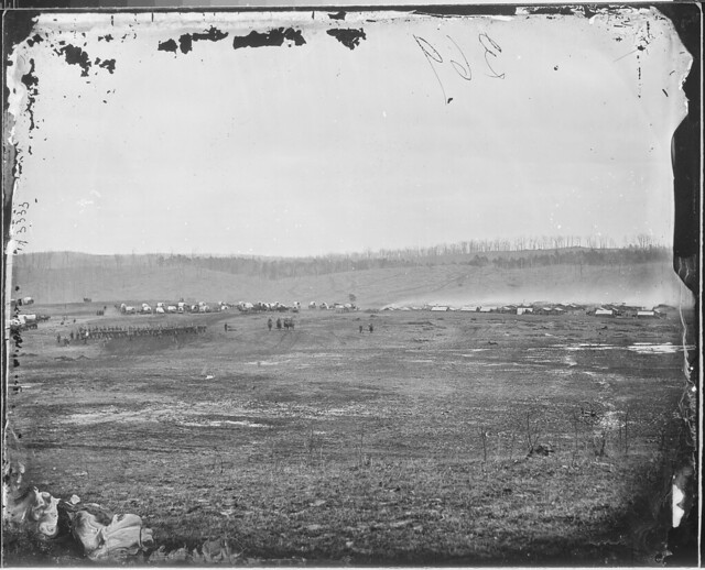 View of troops and camp by The US National Archives