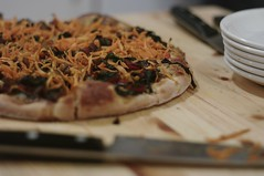Caramelised Onion and Sauted Chard Pizza with Peanut Sauce