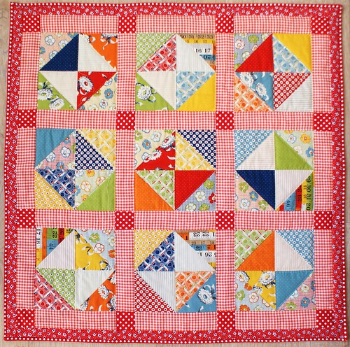 red/ orange mini quilt.